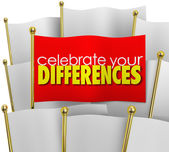 Celebrate Your Differences word on a unique flag — Stock Photo