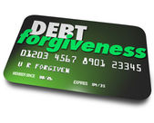 Debt Forgiveness words on a plastic credit card — Foto Stock