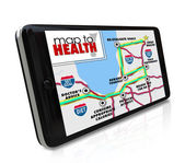 Map to Health application, program or software on a smart phone — Stock Photo