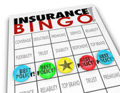 Insurance Bingo words on a game card — Stock Photo