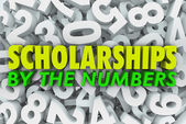 Scholarships By the Numbers Words College Financial Aid Merit Aw — ストック写真