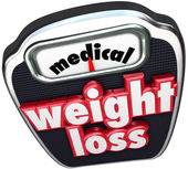 Medical Weight Loss words on a scale — Stock Photo