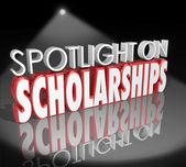 Spotlight on Scholarships words in 3d letters — Stockfoto