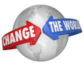 Change the World arrows around Earth — Stock Photo