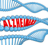 Alzheimer's disease 3d letters in a strand of dna — Stock Photo
