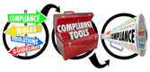 Compliance steps in three step diagram with signs, toolbox and megaphone — Stock Photo