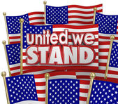 United We Stand words of solidarity and USA flags — Stock Photo