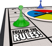 Follow the Rules words on a board game — Stock Photo