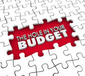 The Hole in Your Budget words — Stock Photo
