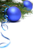 Blue christmas bulbs — Stock Photo