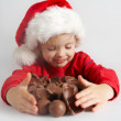 Little chocolate Santa — Stock Photo