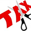 ストックベクタ: Scissors cut unfair too high Taxes