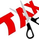 ciseaux coupe les impôts trop élevés injustes — Vecteur