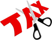 Scissors cut unfair too high Taxes — Stockvektor
