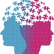 Man woman faces mind thought problem puzzle — Imagen vectorial