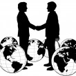 Business agreement global handshake — Stock Vector