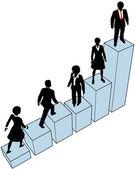 Biznes wznoszenia stoją na wykresie — Wektor stockowy