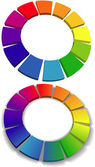 Color wheel set 3D wheels colors choice — Stock Vector