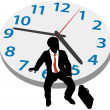 Business man wait appointment time clock — Stock Vector