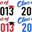 Vector de stock : Class of 2013 school graduation date cap