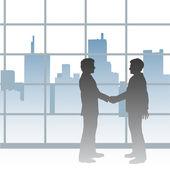 Big City business men deal handshake — Stock Vector