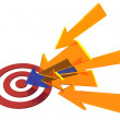 Arrow colors find target bullseye success — Stock Photo