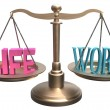 Balance Life Work harmony on scales - Stock Photo