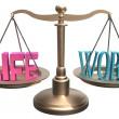 Balance Life Work harmony on scales — Stock Photo