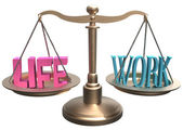 Balance Life Work harmony on scales — Stock Photo