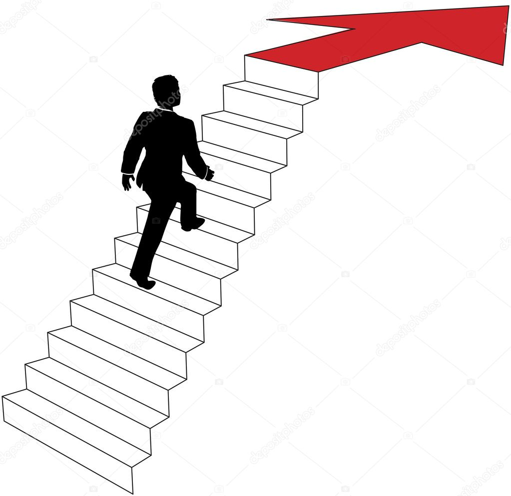 Business Man Climbs Up Arrow Stairs Stock Vector