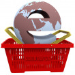 Ecommerce world in Shopping Basket — Stock Photo