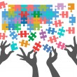 Royalty-Free Stock Vector Image: People join to find puzzle connections