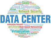 Centro de datos es etiquetas tecnología palabra nube — Vector de stock