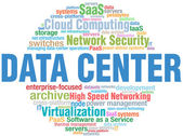 Data Center IT tech word cloud tags — Vettoriale Stock
