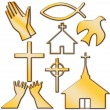 Church and Other Christian Symbol Set — Stock Photo