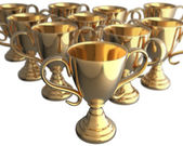 First place trophy ahead of many trophies — Stock Photo