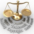 Scale IP rights legal justice words — Stock Photo