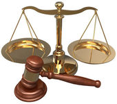 Scale Gavel lawyer justice legal attorney — Stock Photo