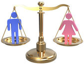 Gender equality sex justice 3D scales — Stock Photo