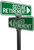 Delayed or Secure Retirement fund plan — Stock Photo