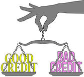 Buen crédito mala persona escalas de elección — Vector de stock
