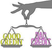 Persoon goed slecht krediet schalen keuze — Stockvector