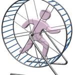 Person run in treadmill rat cage — Stock Photo