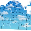 Cloud computing tech puzzle solution — Stock Photo