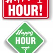 Happy Hour Cocktail bar signs — Imagens vectoriais em stock