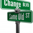 Decision Choose Change or  Same Old Street — Stock Photo