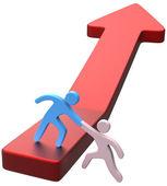 Help hand friend progress arrow — Stock Photo