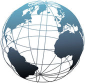 Global wireframe latitude Atlantic Earth globe — Vettoriale Stock