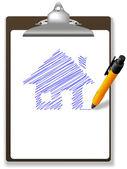 επεξεργασία σχέδιο σπιτιών σε χαρτί και πρόχειρο στυλό — Διανυσματικό Αρχείο