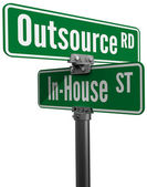 Outsource vs inhouse supply business choice — Stock Photo